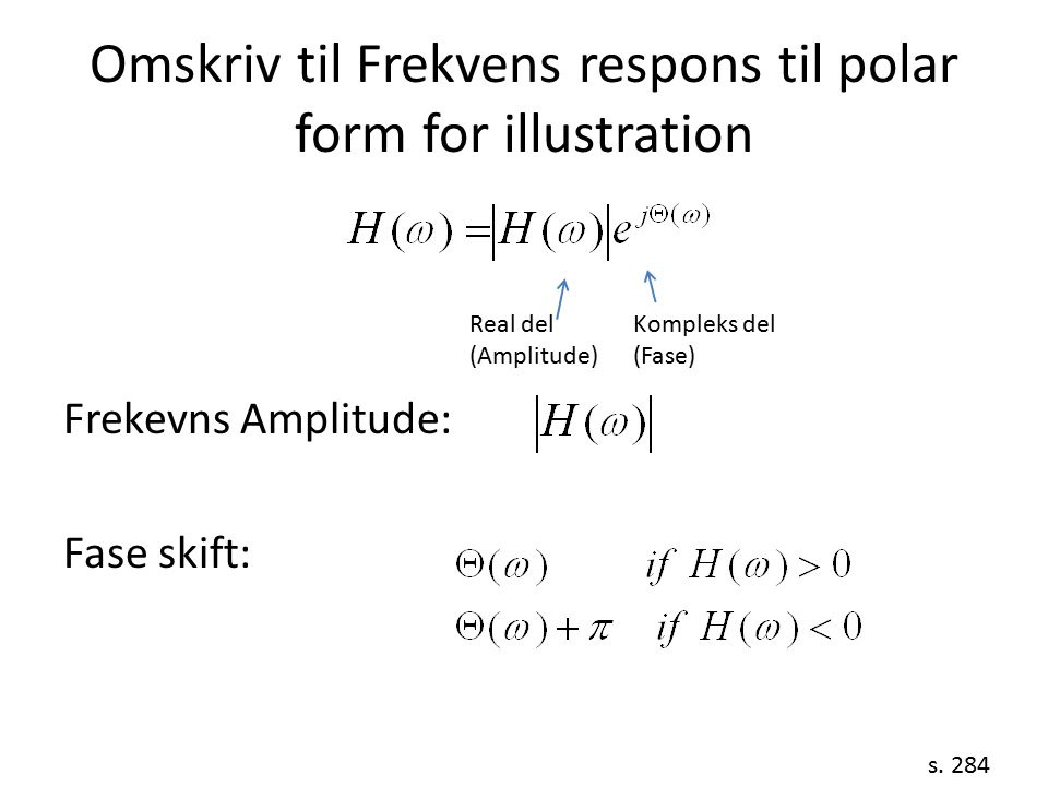 Omskriv til Frekvens respons til polar form for illustration