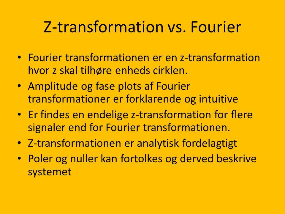 Z-transformation vs. Fourier