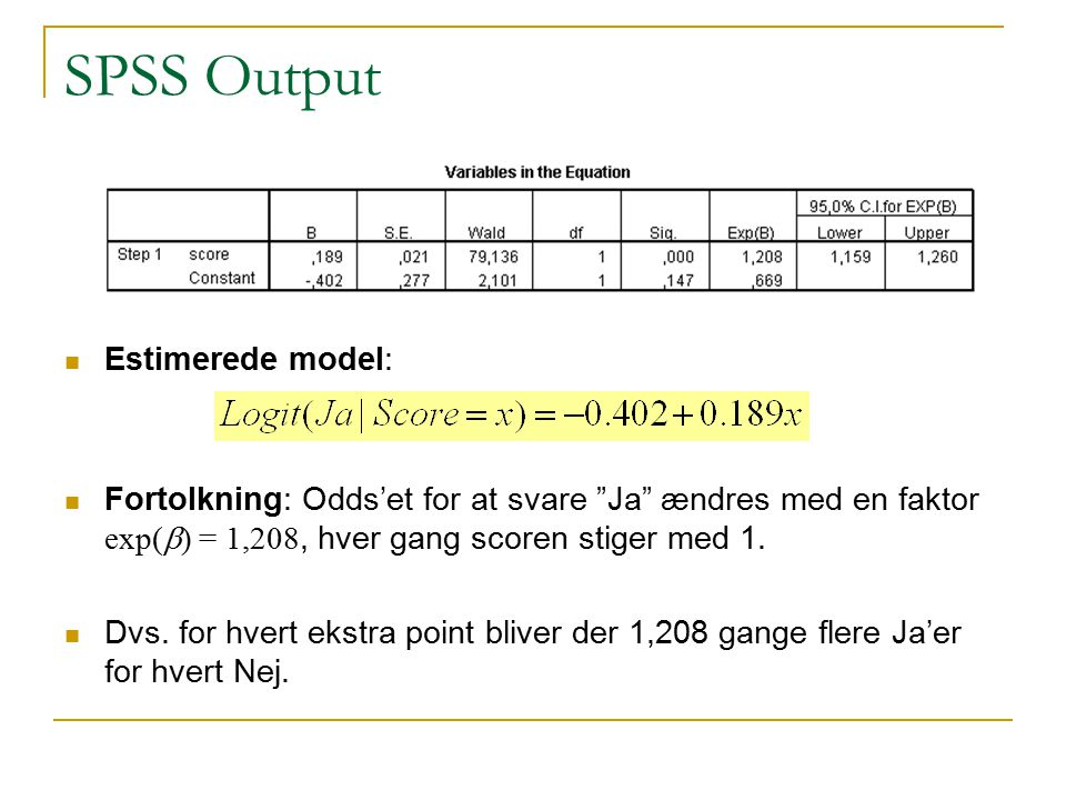 SPSS Output Estimerede model: