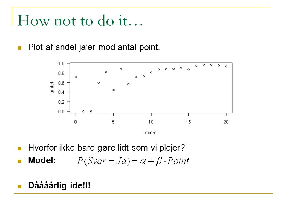 How not to do it… Plot af andel ja'er mod antal point.