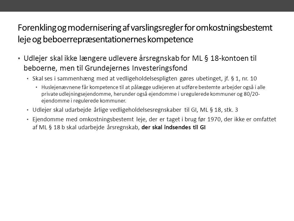 Forenkling og modernisering af varslingsregler for omkostningsbestemt leje og beboerrepræsentationernes kompetence