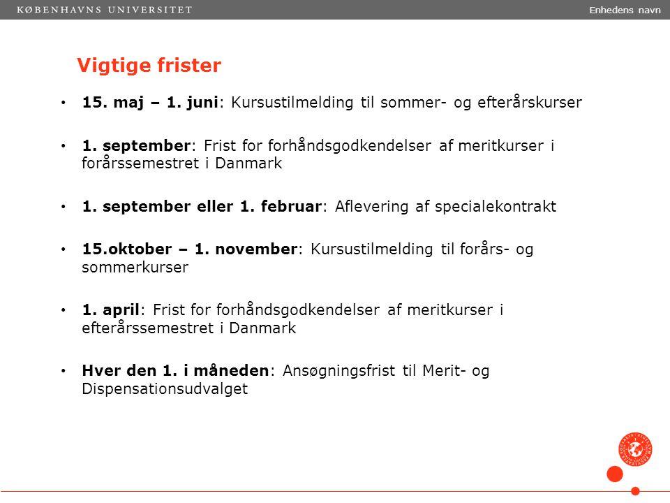 Enhedens navn Vigtige frister. 15. maj – 1. juni: Kursustilmelding til sommer- og efterårskurser.