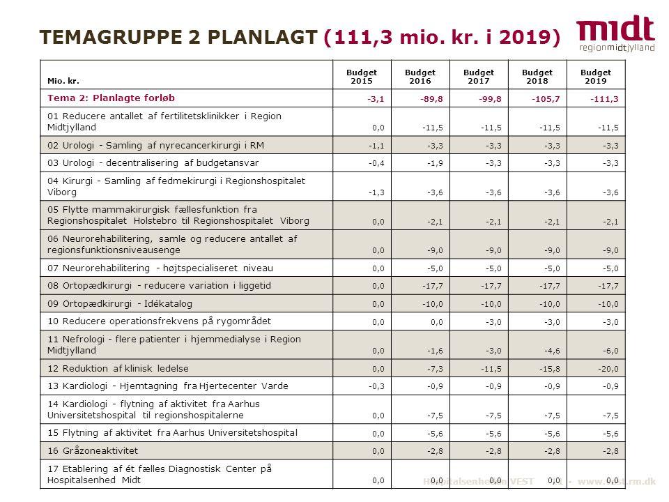 TEMAGRUPPE 2 PLANLAGT (111,3 mio. kr. i 2019)