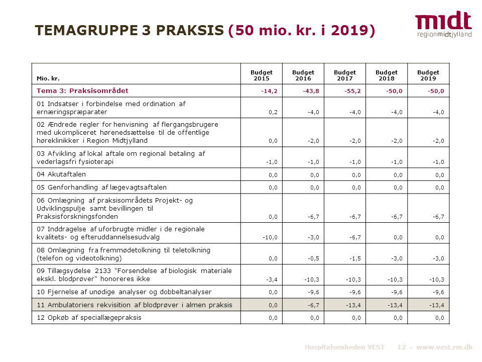 TEMAGRUPPE 3 PRAKSIS (50 mio. kr. i 2019)