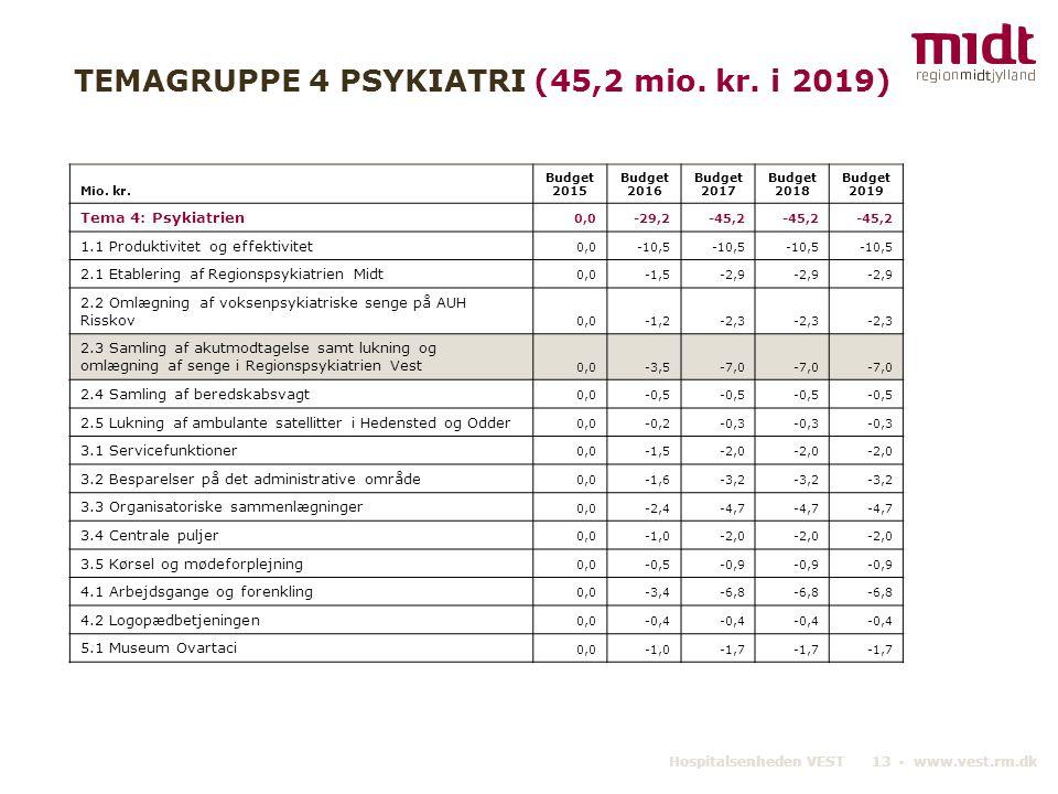 TEMAGRUPPE 4 PSYKIATRI (45,2 mio. kr. i 2019)