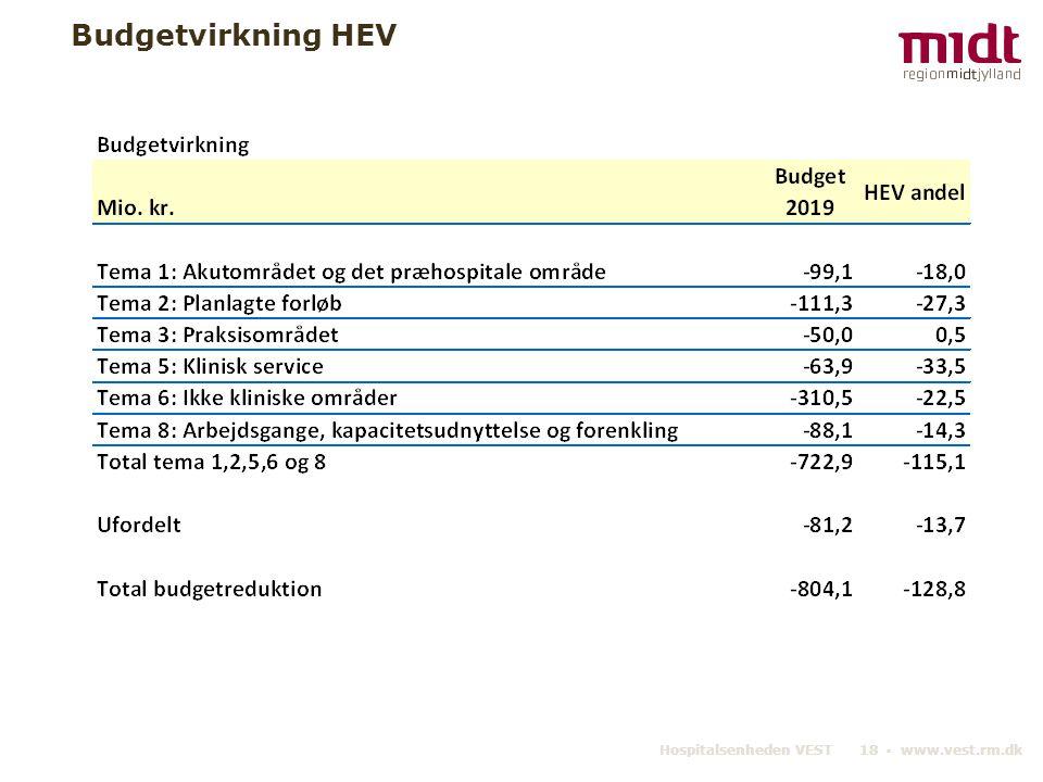 Budgetvirkning HEV Hospitalsenheden VEST 18 ▪ www.vest.rm.dk