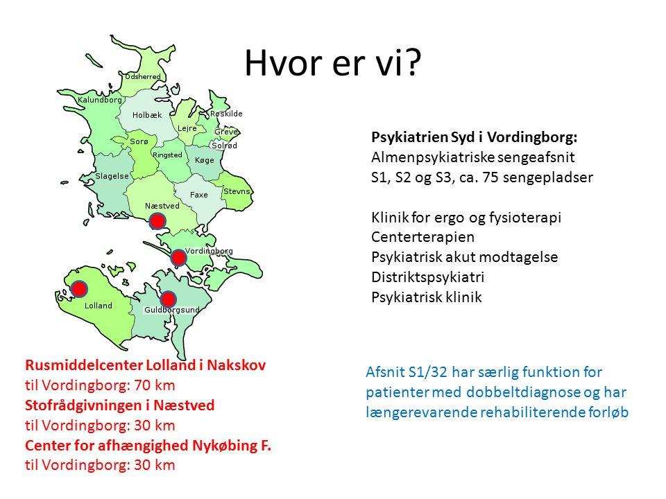 Hvor er vi Psykiatrien Syd i Vordingborg: Almenpsykiatriske sengeafsnit. S1, S2 og S3, ca. 75 sengepladser.
