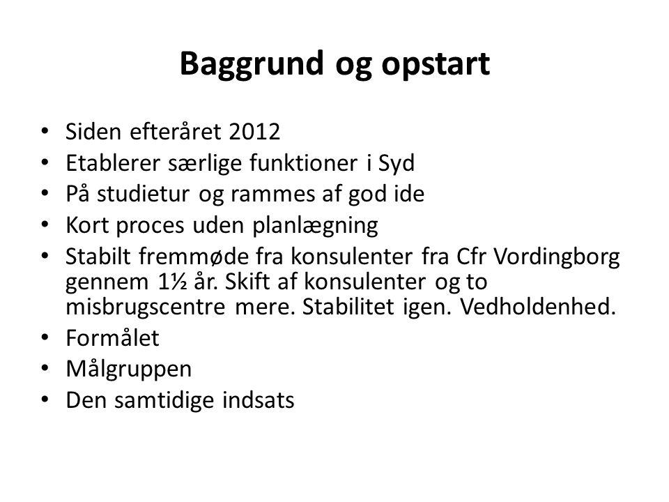 Baggrund og opstart Siden efteråret 2012