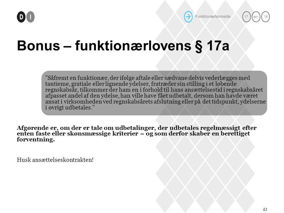 Bonus – funktionærlovens § 17a