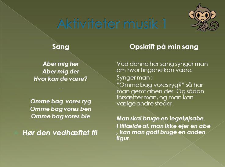 Aktiviteter musik 1 Hør den vedhæftet fil Sang Opskrift på min sang