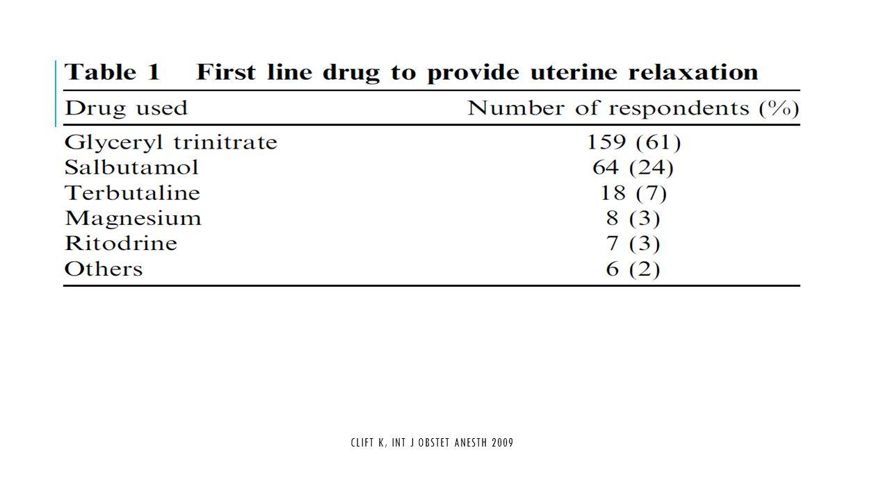 Clift K, Int J Obstet Anesth 2009