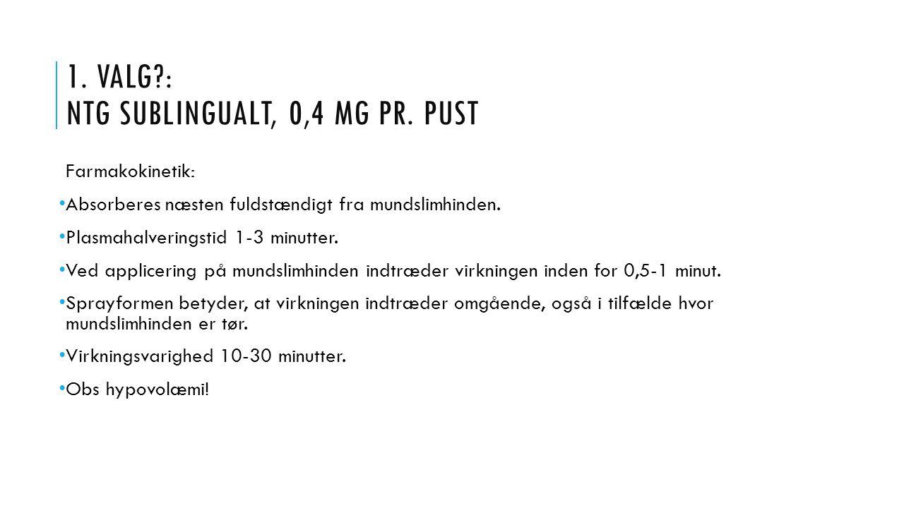 1. VALG : NTG sublingualt, 0,4 mg pr. pust
