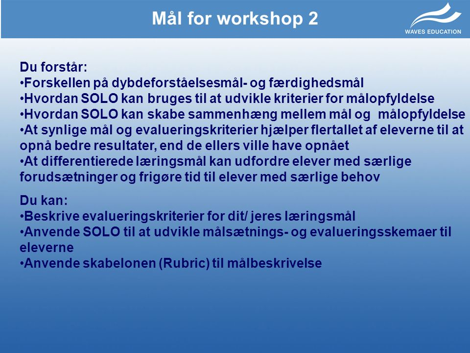 Mål for workshop 2 Du forstår:
