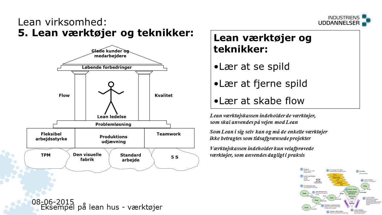 Lean virksomhed: 5. Lean værktøjer og teknikker: