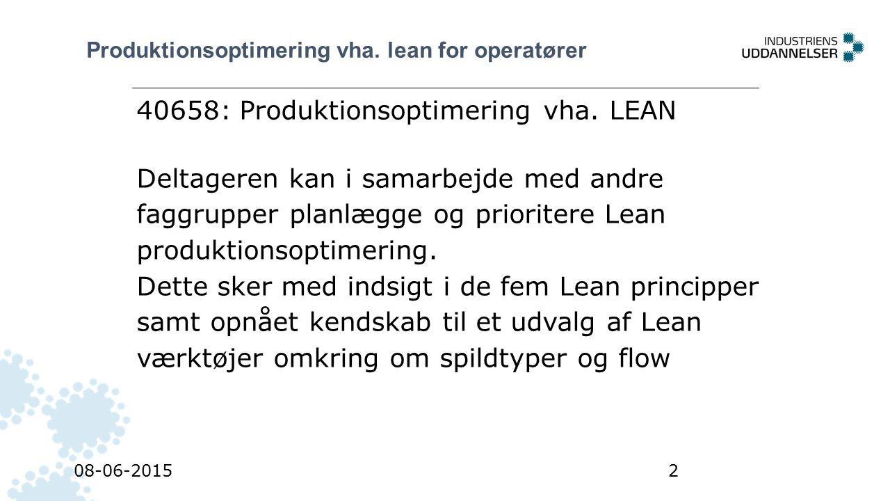 40658: Produktionsoptimering vha. LEAN