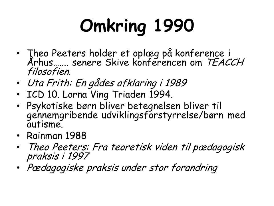 Omkring 1990 Theo Peeters holder et oplæg på konference i Århus….... senere Skive konferencen om TEACCH filosofien.
