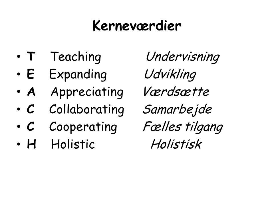Kerneværdier T Teaching Undervisning E Expanding Udvikling