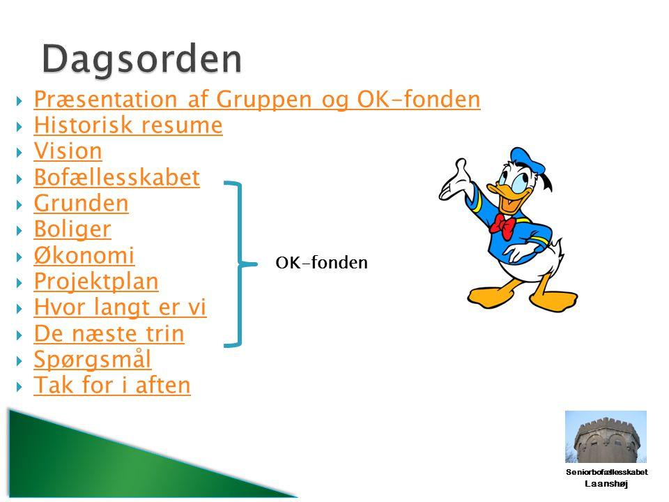 Dagsorden Præsentation af Gruppen og OK-fonden Historisk resume Vision