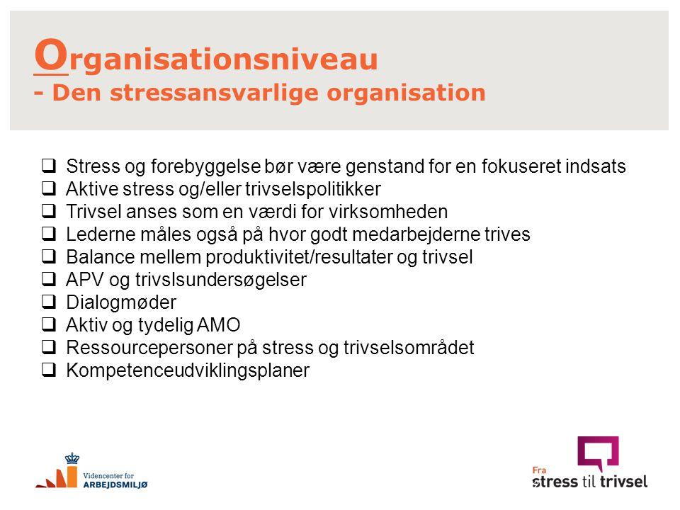 Organisationsniveau - Den stressansvarlige organisation