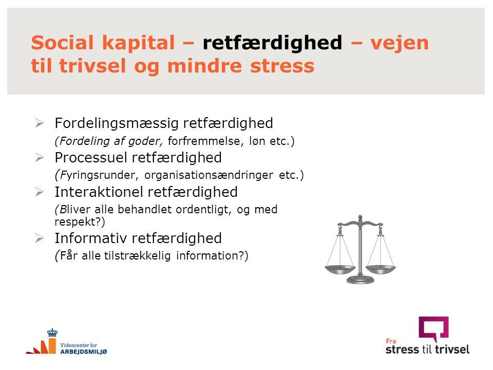 Social kapital – retfærdighed – vejen til trivsel og mindre stress