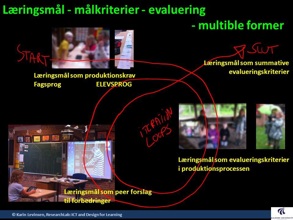 Læringsmål - målkriterier - evaluering - multible former