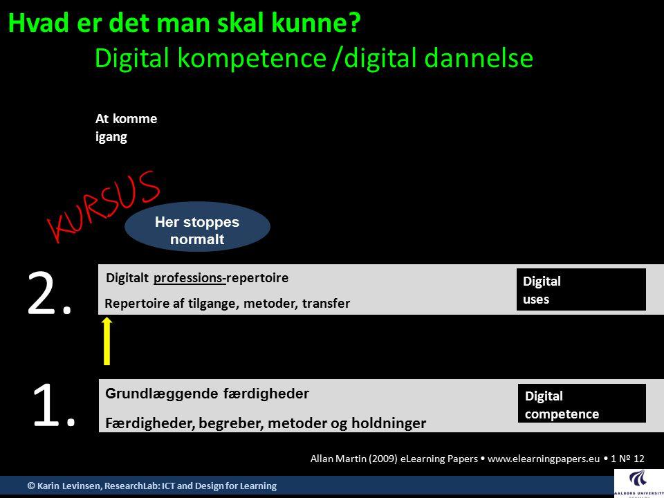 2. 1. Hvad er det man skal kunne Digital kompetence /digital dannelse