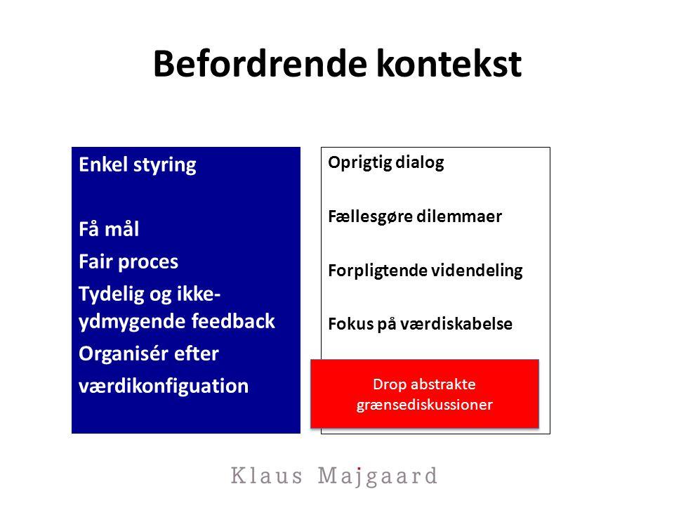 Befordrende kontekst Enkel styring Få mål Fair proces Tydelig og ikke-ydmygende feedback Organisér efter værdikonfiguation