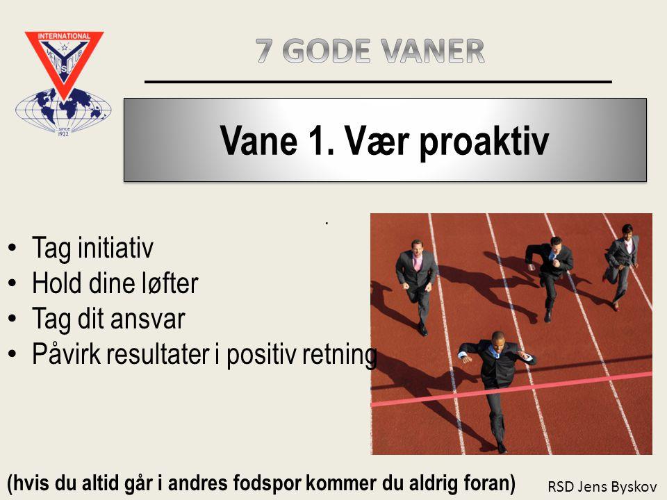 Vane 1. Vær proaktiv 7 GODE VANER Tag initiativ Hold dine løfter