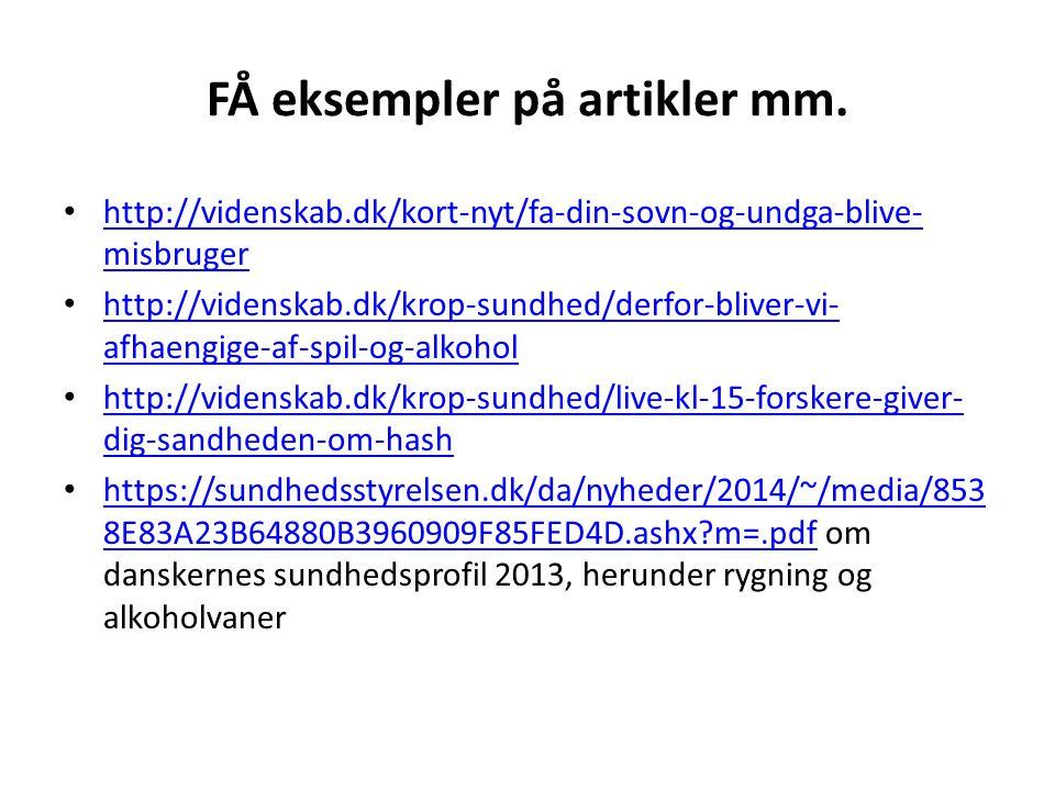FÅ eksempler på artikler mm.