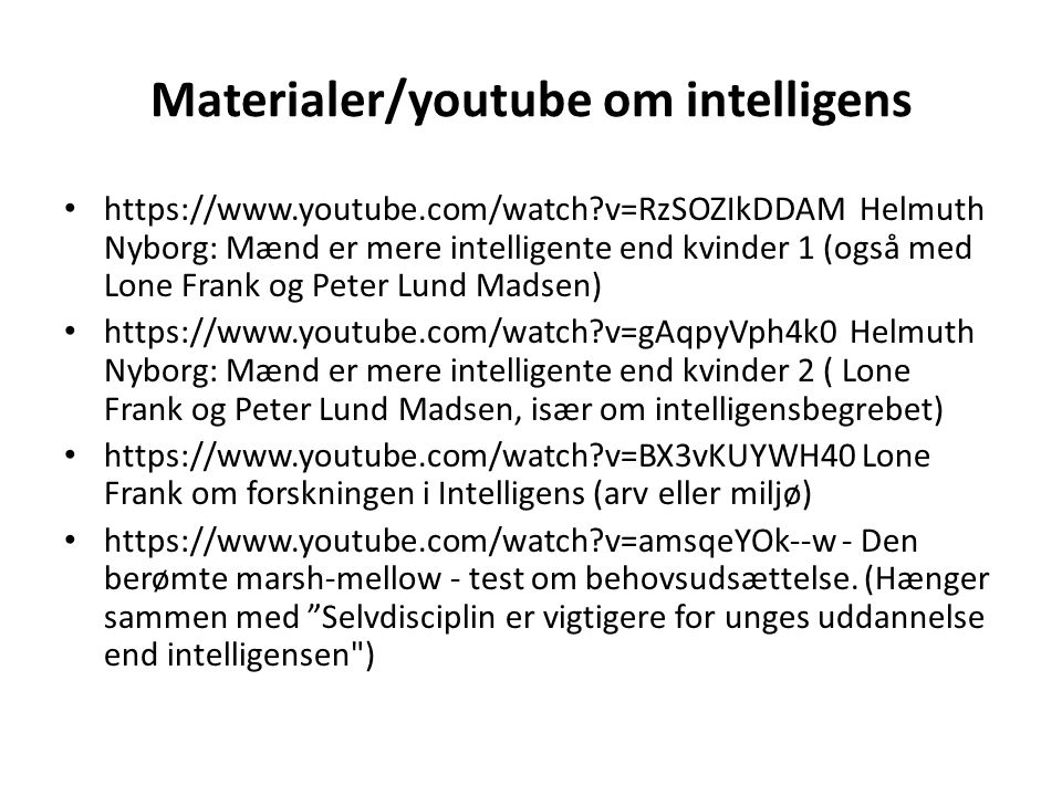 Materialer/youtube om intelligens