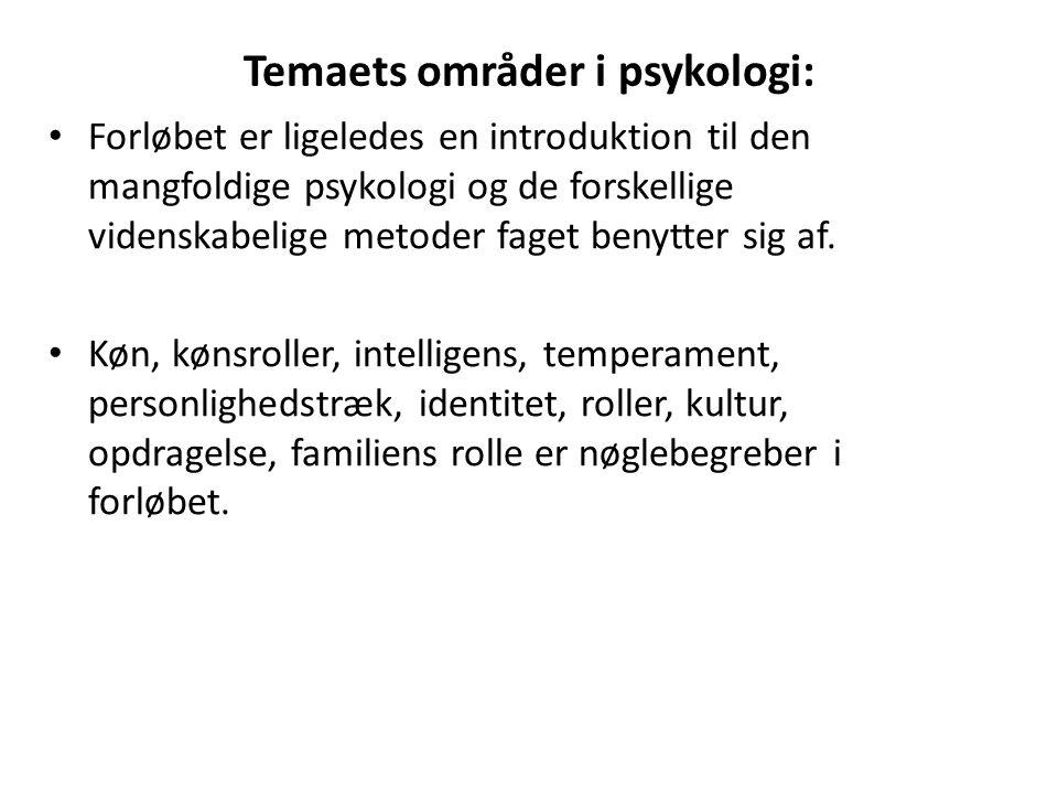 Temaets områder i psykologi: