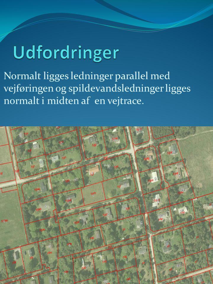 Udfordringer Normalt ligges ledninger parallel med vejføringen og spildevandsledninger ligges normalt i midten af en vejtrace.