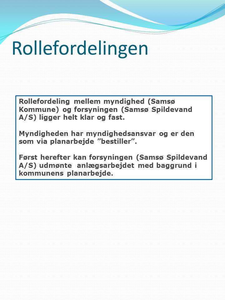 Rollefordelingen Rollefordeling mellem myndighed (Samsø Kommune) og forsyningen (Samsø Spildevand A/S) ligger helt klar og fast.