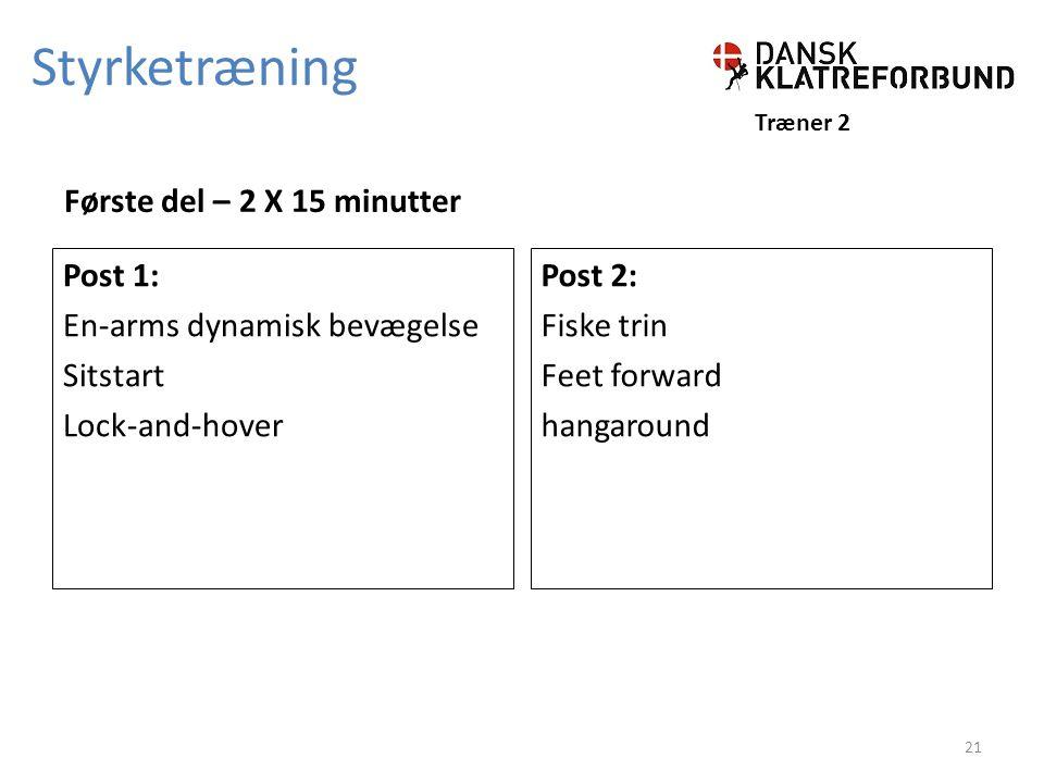 Styrketræning Første del – 2 X 15 minutter