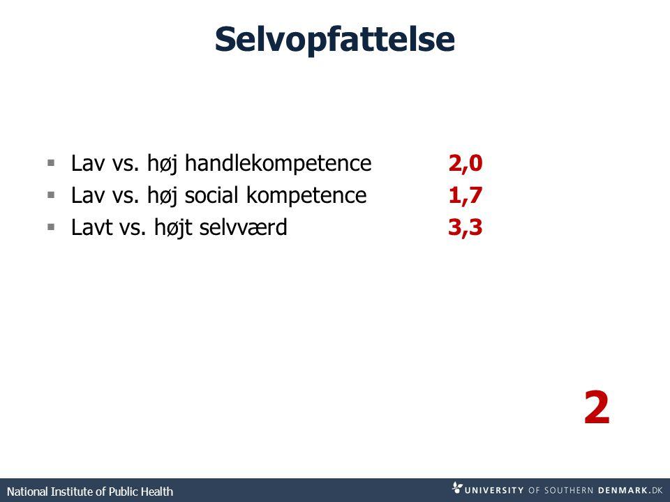 2 Selvopfattelse Lav vs. høj handlekompetence 2,0
