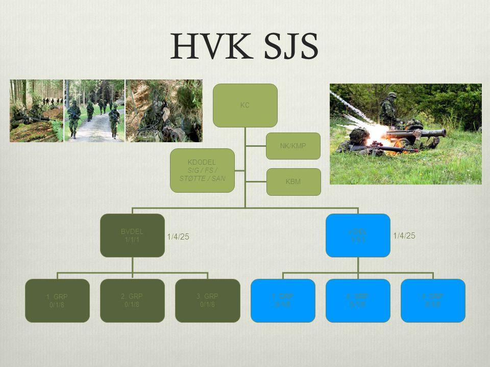 HVK SJS 1/4/25 KC BVDEL 1/1/1 x DEL KDODEL SIG / FS / STØTTE / SAN