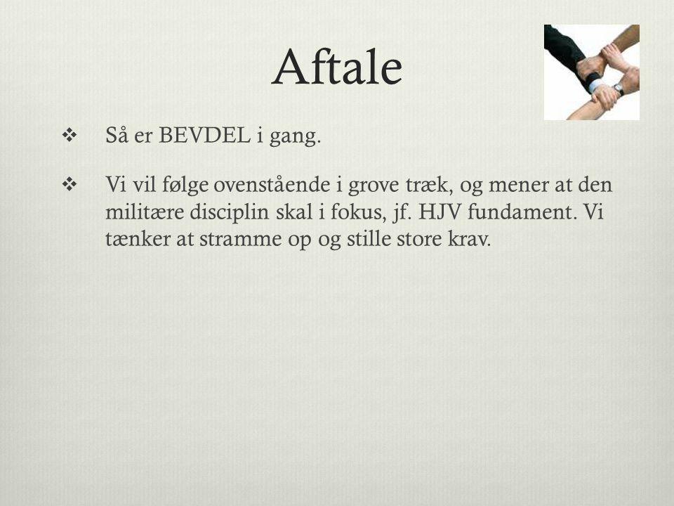 Aftale Så er BEVDEL i gang.