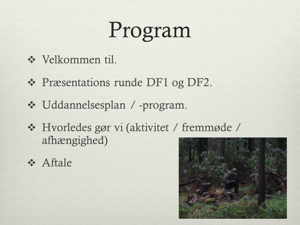 Program Velkommen til. Præsentations runde DF1 og DF2.