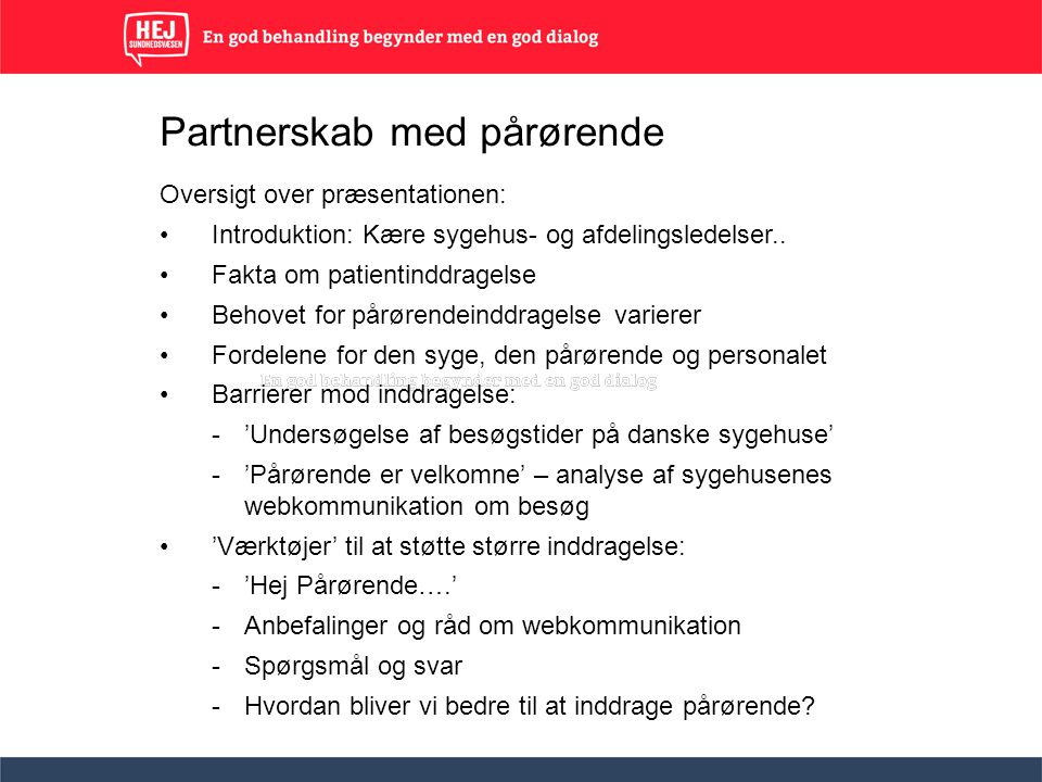 Partnerskab med pårørende