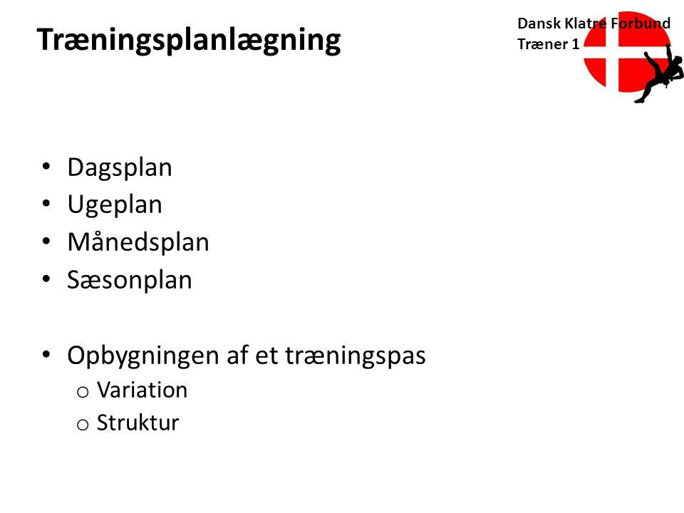 Træningsplanlægning Dagsplan Ugeplan Månedsplan Sæsonplan