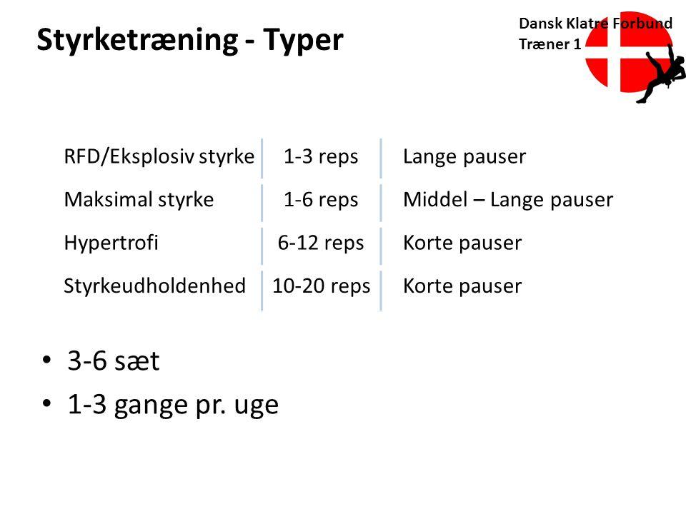 Styrketræning - Typer 3-6 sæt 1-3 gange pr. uge RFD/Eksplosiv styrke