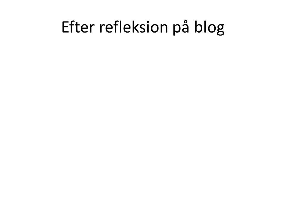 Efter refleksion på blog