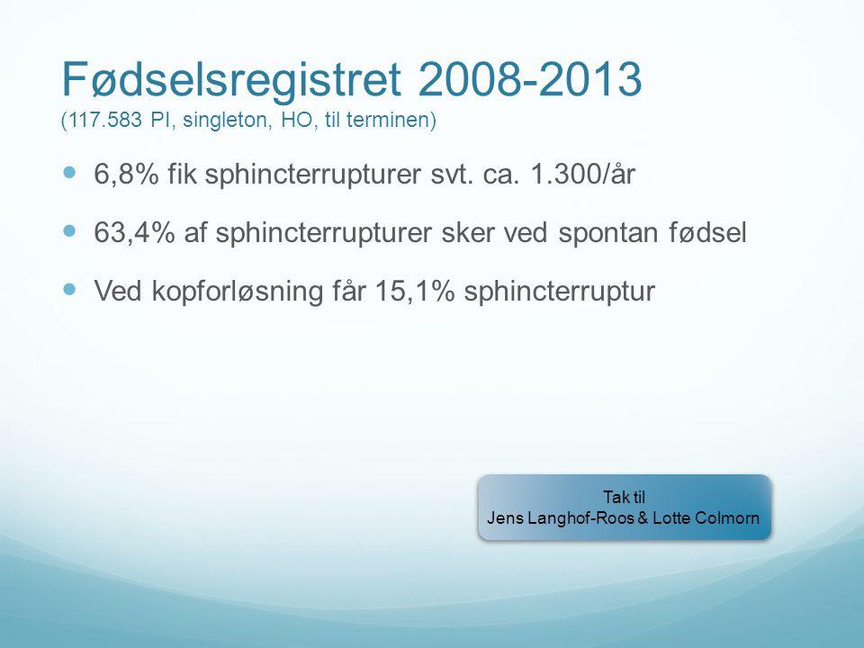 Fødselsregistret 2008-2013 (117.583 PI, singleton, HO, til terminen)