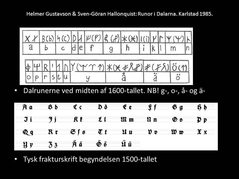 Dalrunerne ved midten af 1600-tallet. NB! g-, o-, å- og ä-
