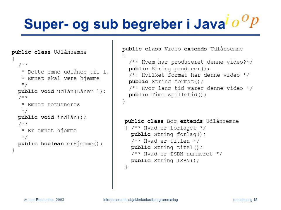 Super- og sub begreber i Java