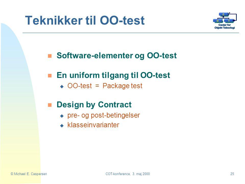 Teknikker til OO-test Software-elementer og OO-test