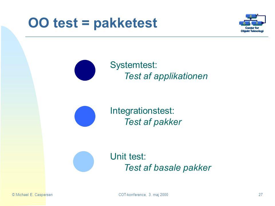 OO test = pakketest Systemtest: Test af applikationen