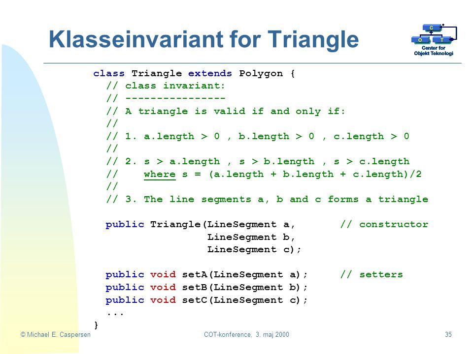 Klasseinvariant for Triangle