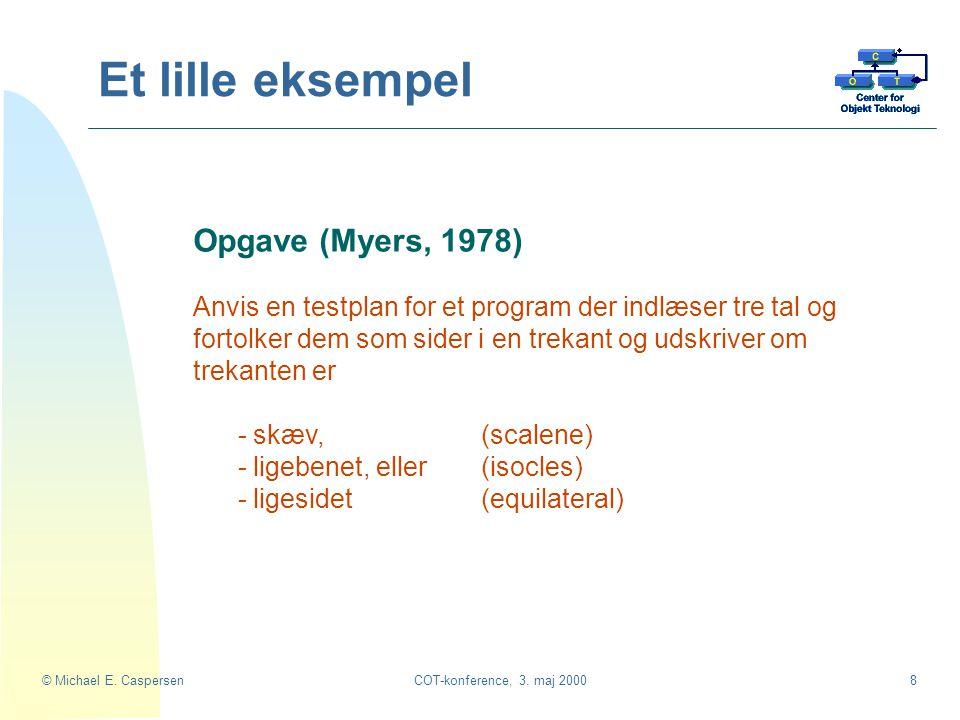 Et lille eksempel Opgave (Myers, 1978)