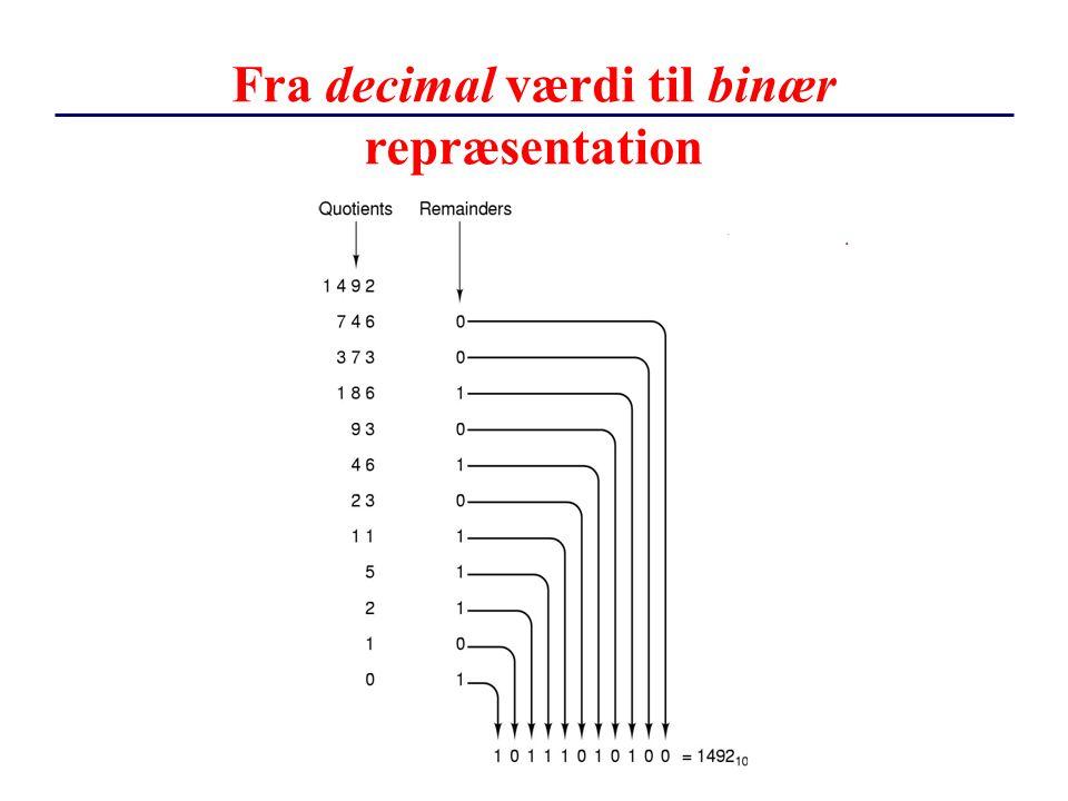 Fra decimal værdi til binær repræsentation